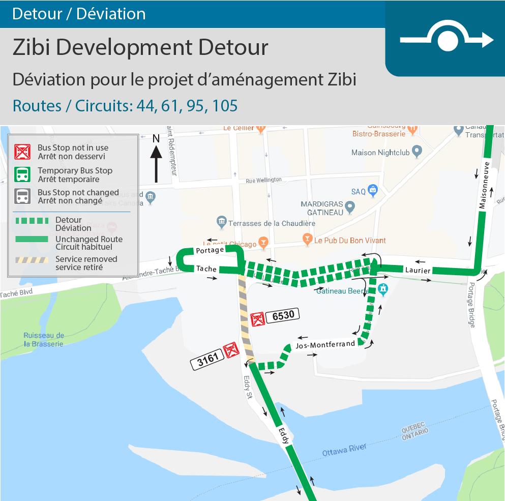 Réouverture du pont Chaudière et déviation pour le projet d'aménagement Zibi