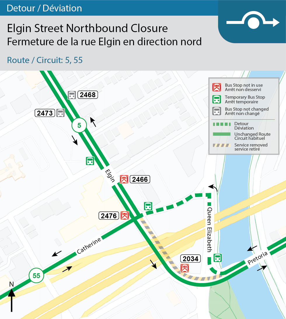 Map for Routes 5 and 55, Elgin Street northbound closure detour