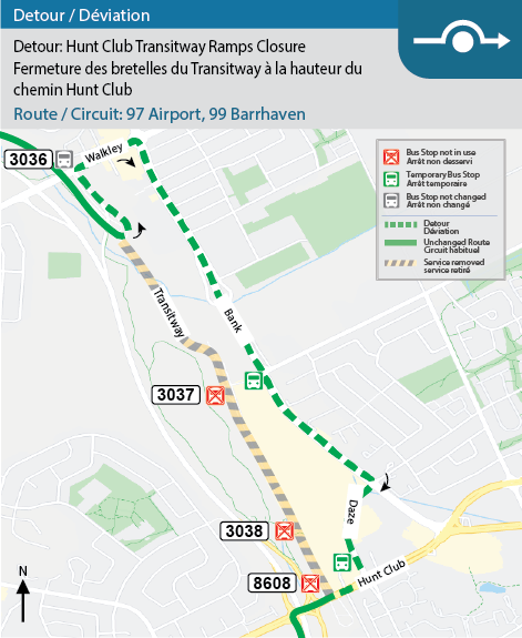 Oct.19-22, 1-5am: Routes 6, 90, 92, 96, 97, 98, 99 detoured off ramps between Transitway & North-side Hunt Club for Stage 2 work.