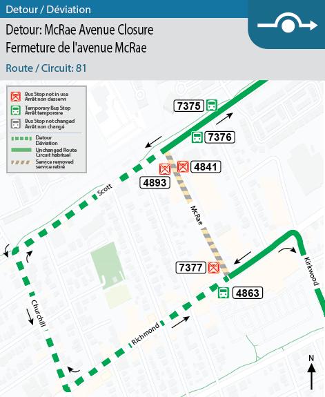 Map for Routes 81 McRae Avenue Closure Detour