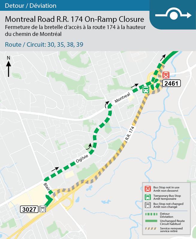 Carte des détours des circuits 30, 35, 38 et 39 et de la bretelle d'accès à la route régionale 174 en direction est.