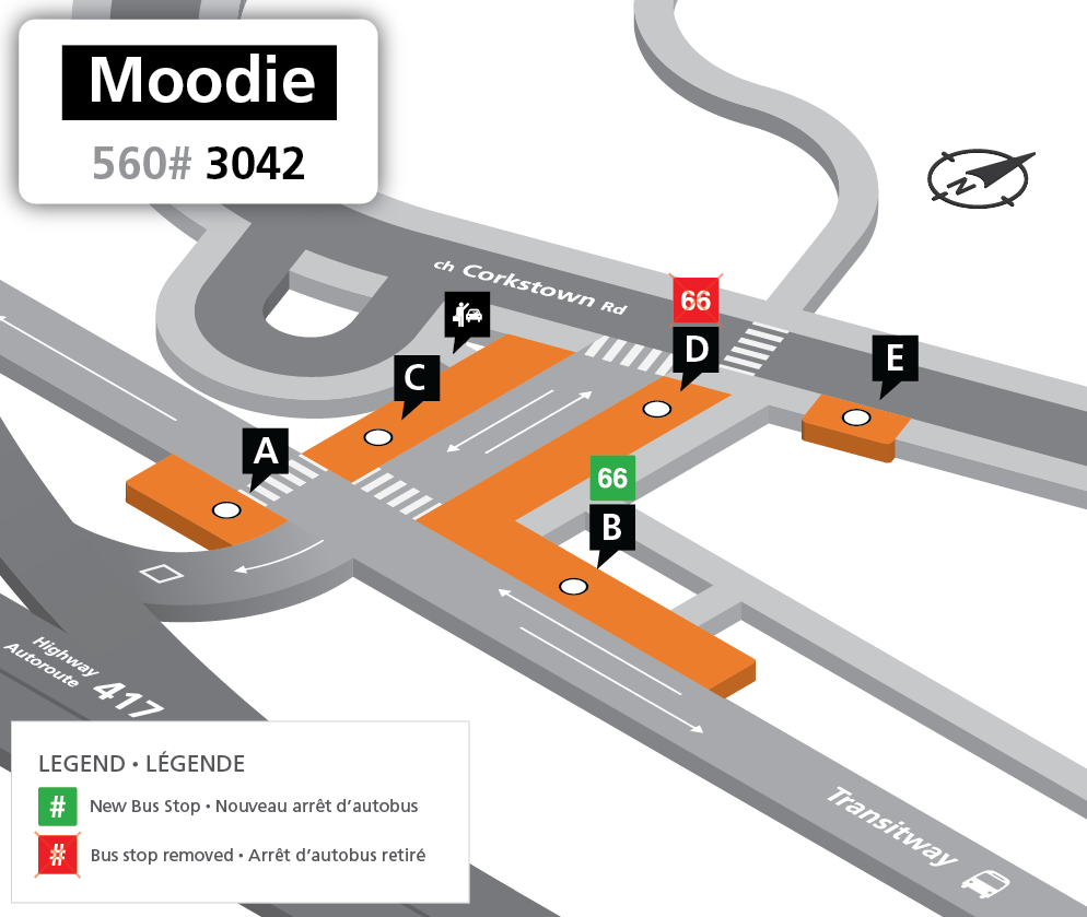 Map showing bus service for route 66 westbound trips going to Stop B at Moodie Station.
