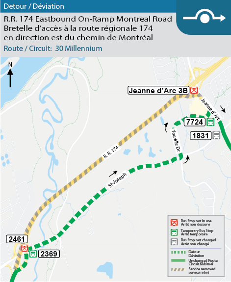 Map for Route 30, R.R. 174 eastbound on-ramp closure at Montreal Road Detour