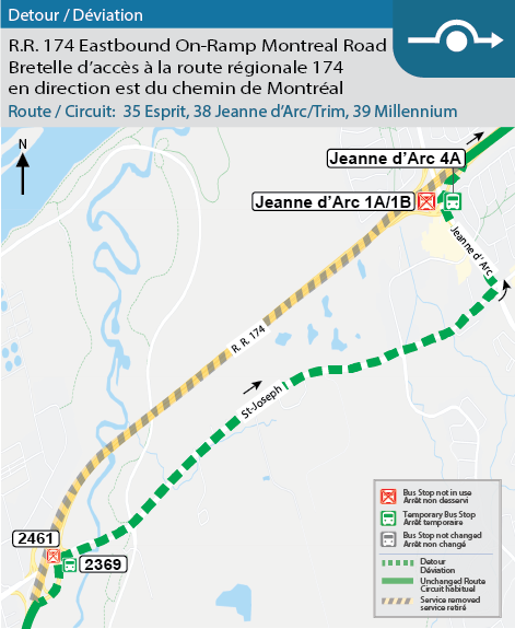 Map for Routes 35, 38 & 39, R.R. 174 eastbound on-ramp closure at Montreal Road Detour