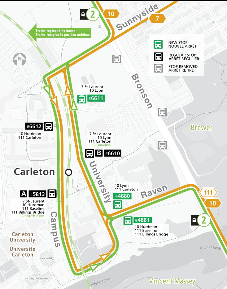 Map for Routes 7, 10, 111 & Line 2 bus service, Raven Road Detour