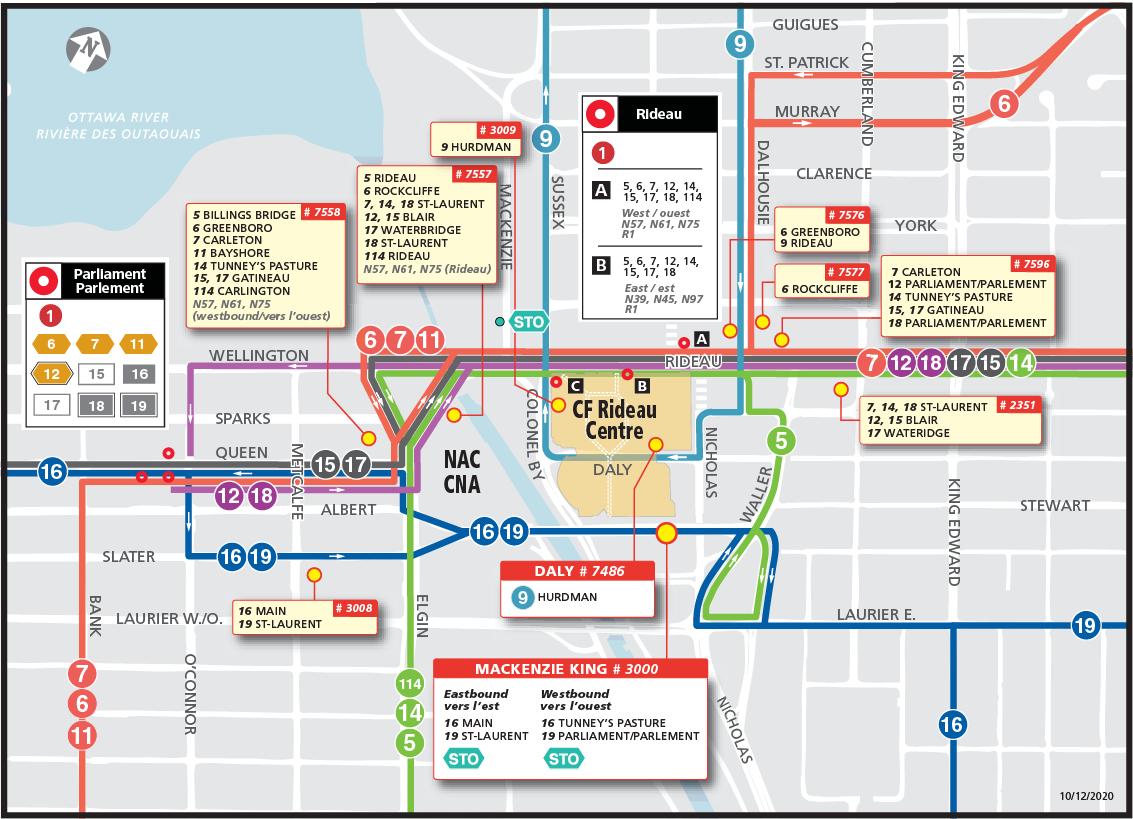 Carte pour les circuits 5, 6, 7, 12, 14, 15, 17, 18, 114, N39, N45, N57, N61, N75, N97, R1, 602 et 624 de la réouverture de la rue Rideau le 20 décembre 2020.