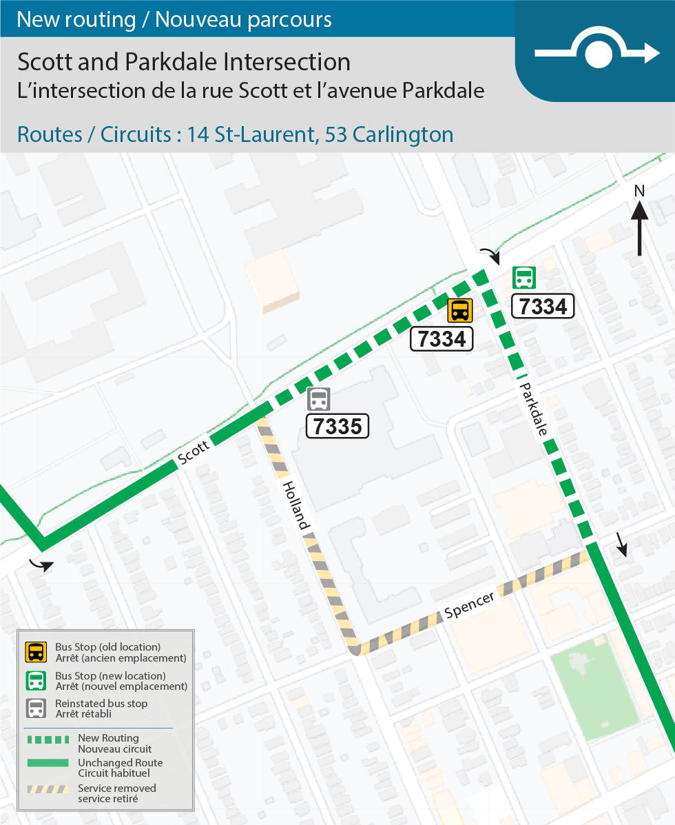 Map for routes 14 St-Laurent and 53 Calrington, new routing at the Scott and Parkdale Intersection effective December 20, 2020
