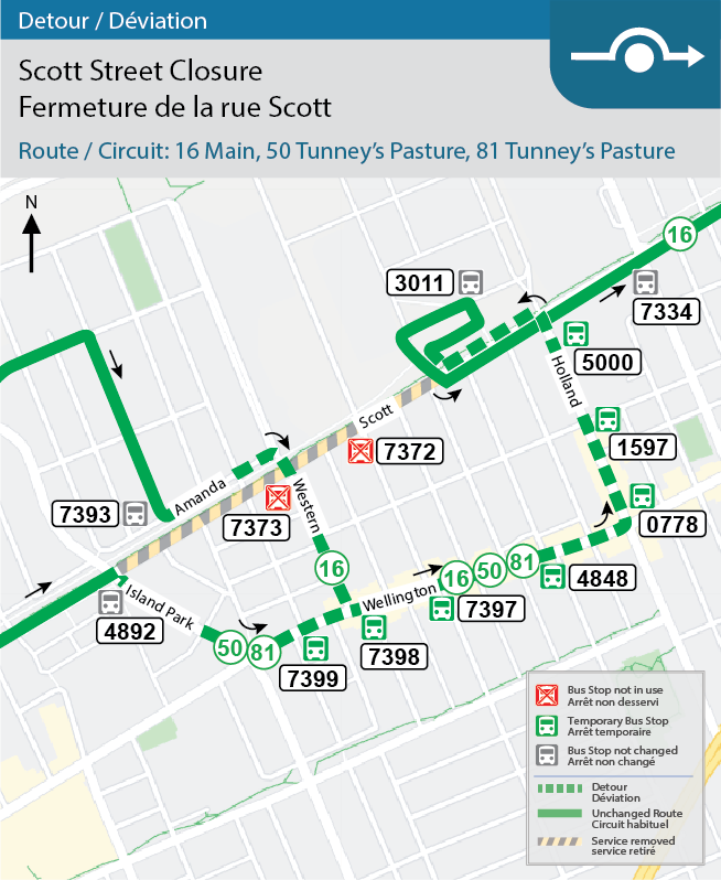 Map for Route 16, 50 and 81, Scott Street Detour