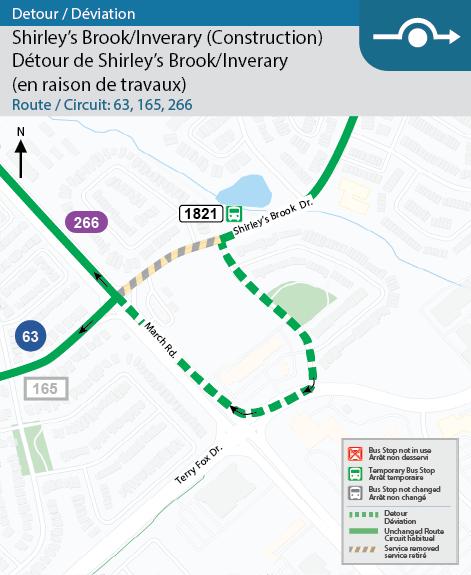 Les circuits 63, 165 et 266 sont déviés à l'angle de Shirley's Brook/Inverary du 24 février au 13 mars.