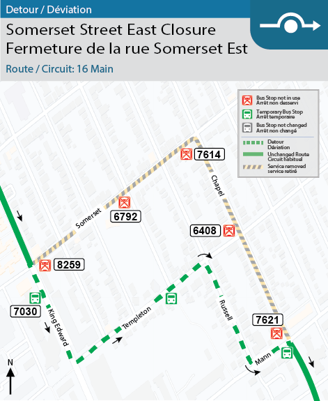 Map for Route 16 Main, Somerset Street East Closure Detour