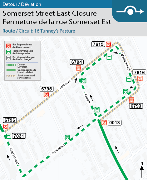 Map for Route 16 Tunney's Pasture, Somerset Street East Closure Detour