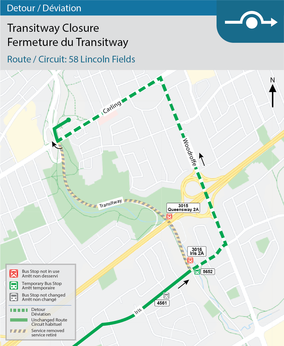 Map for Route 58 Lincoln Fields, Transitway Detour