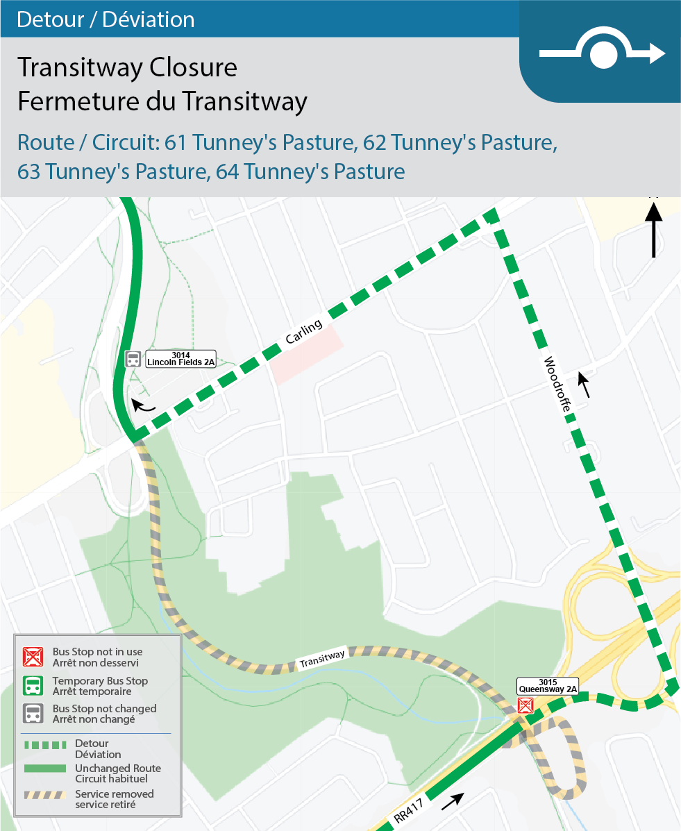 Map for Route 61 Tunney's Pasture, 62 Tunney's Pasture, 63 Tunney's Pasture, and 64 Tunney's Pasture, Transitway Detour