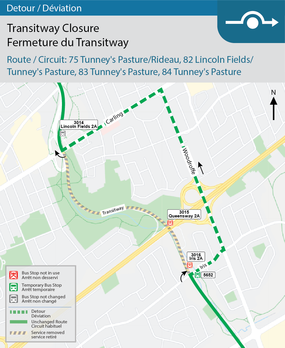 Map for Route 75 Tunney's Pasture/Rideau, 82 Lincoln Fields/Tunney's Pasture, 83 Tunney's Pasture, and 84 Tunney's Pasture, Transitway Detour