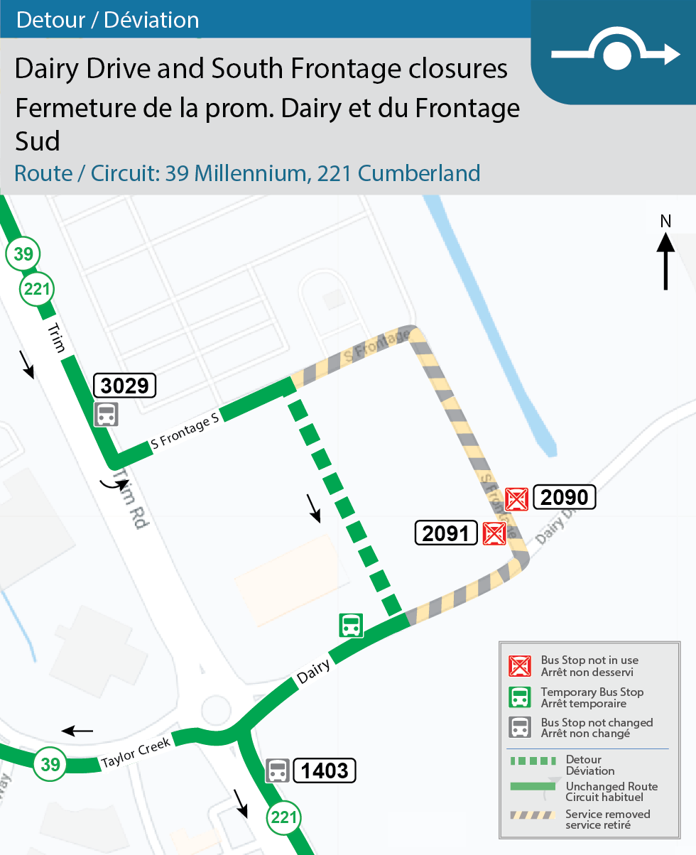 Map for Routes 39 Millennium et 221 Cumberland, detour for Dairy Drive and South Frontage closures