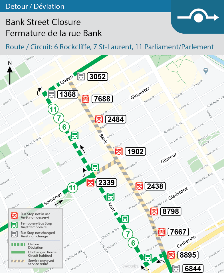 Carte pour les circuits 6, Rockcliffe, 7, St-Laurent et 11 Parlement, déviation de la rue Bank