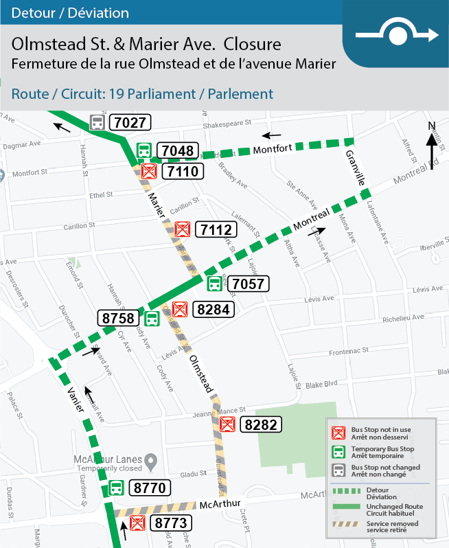 Detour map for Route 19: Parliament