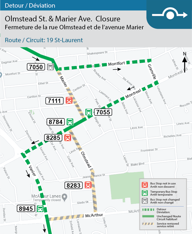Detour map for Route 19: St-Laurent.