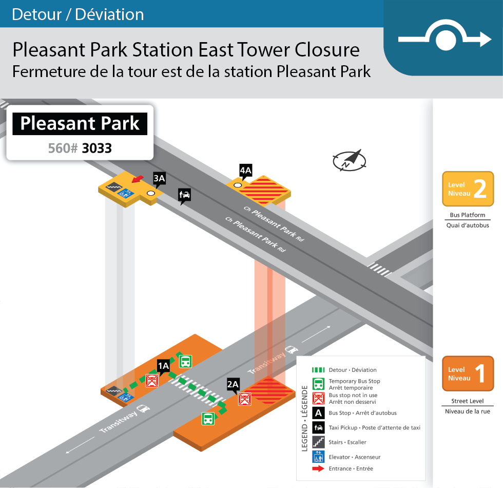 Carte de la station Pleasant Park qui illustre la tour Est fermée et le passage pour piétons temporaire qui traverse le Transitway.