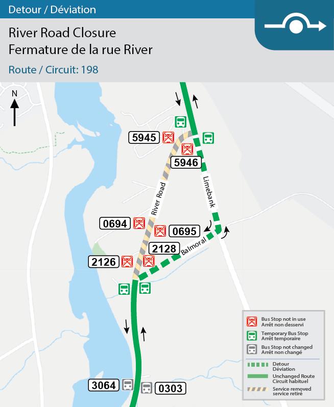 La carte montre la déviation du circuit 198 sur le chemin River entre les chemins Limebank et Leitrim.