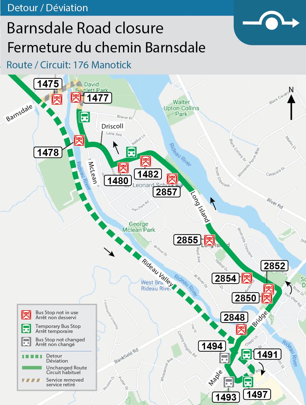 Carte du circuit 176 Manotick, détour en raison de la fermeture du chemin Barnsdale, entre le chemin Lockview et la promenade Rideau Valley.