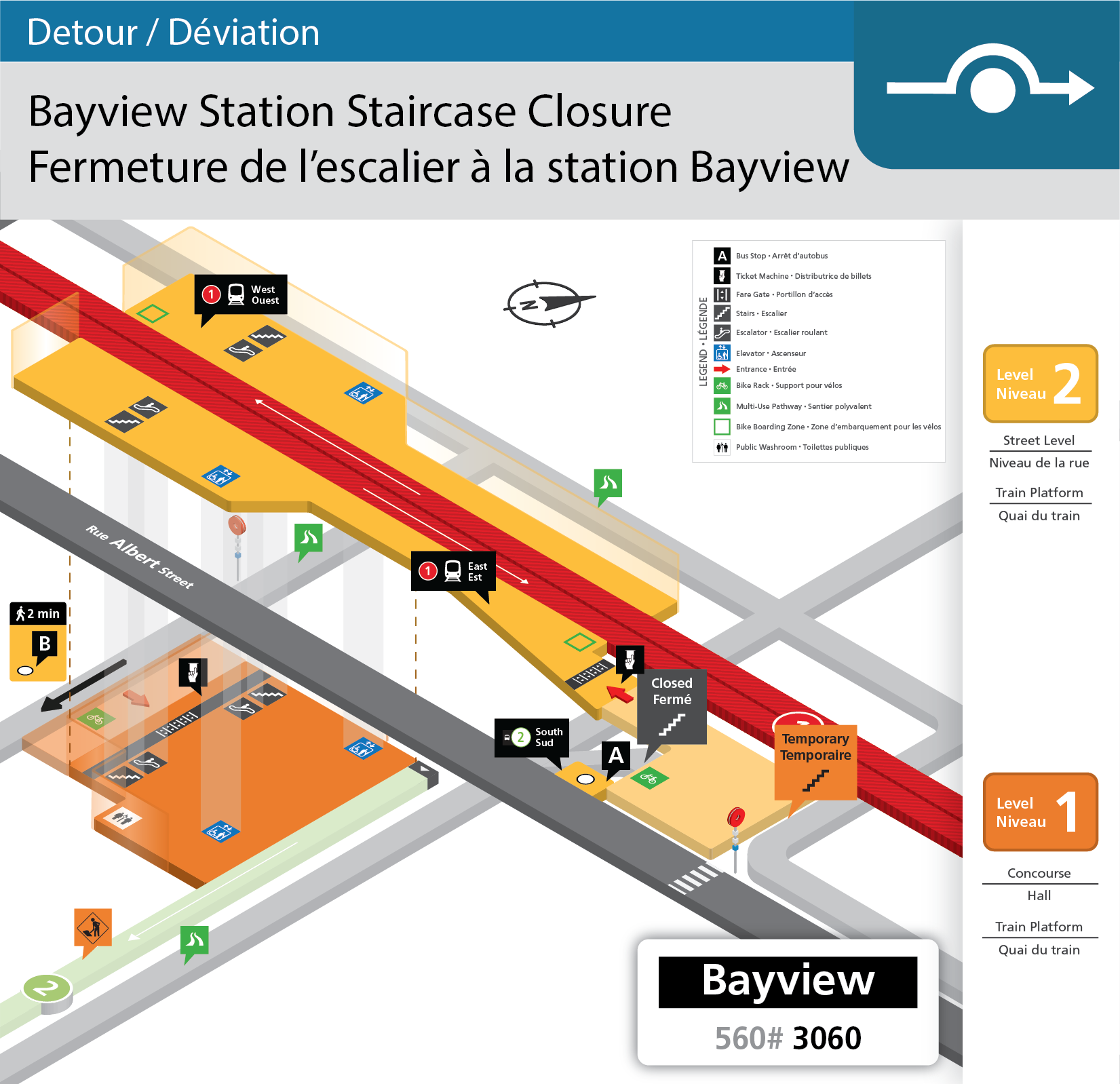 Map showing the closed staircase at Bayview Station and the location of the temporary staircase