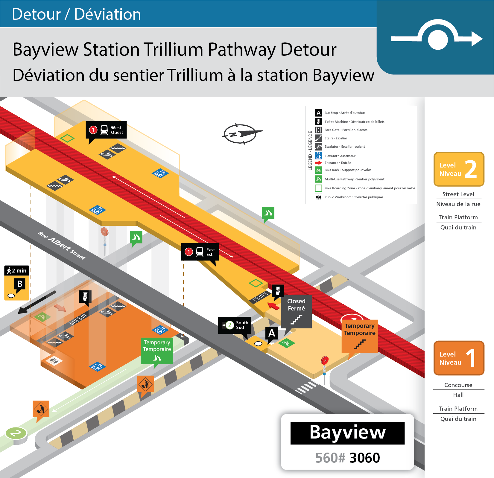 Map showing the slight detour of the Trillium Pathway at Bayview Station, and the temporary paved pathway that will be available to customers.