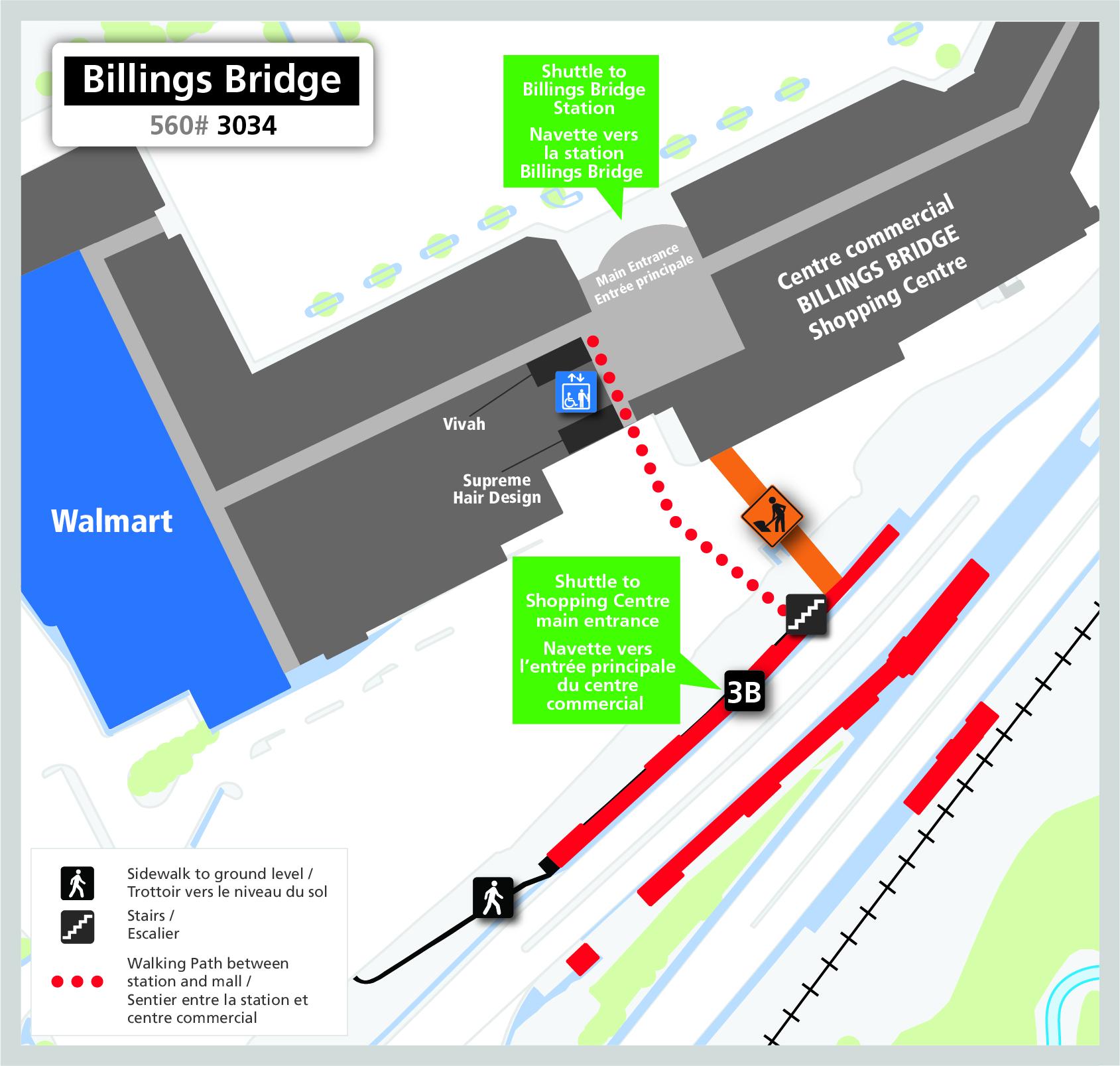 Map for Billings Bridge Station, Billings Bridge pedestrian bridge closure
