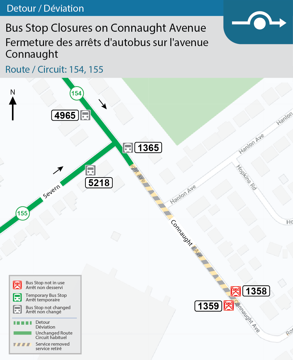 Map for Routes 154 and 155, Bus Stops at Connaught (#1359 and #1358) are closed