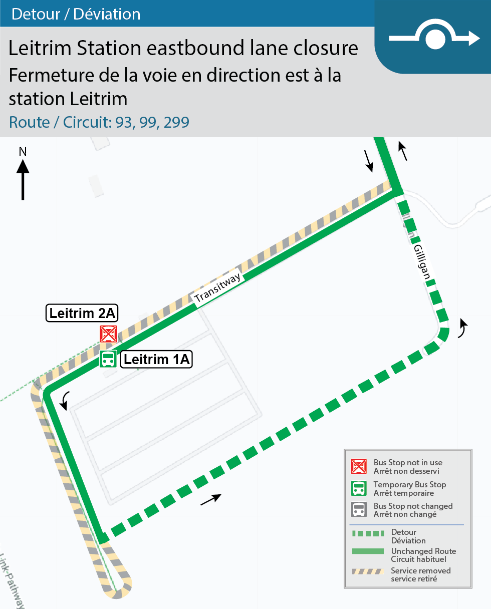 Map for Routes 93, 99 and 299, Leitrim Station Detour