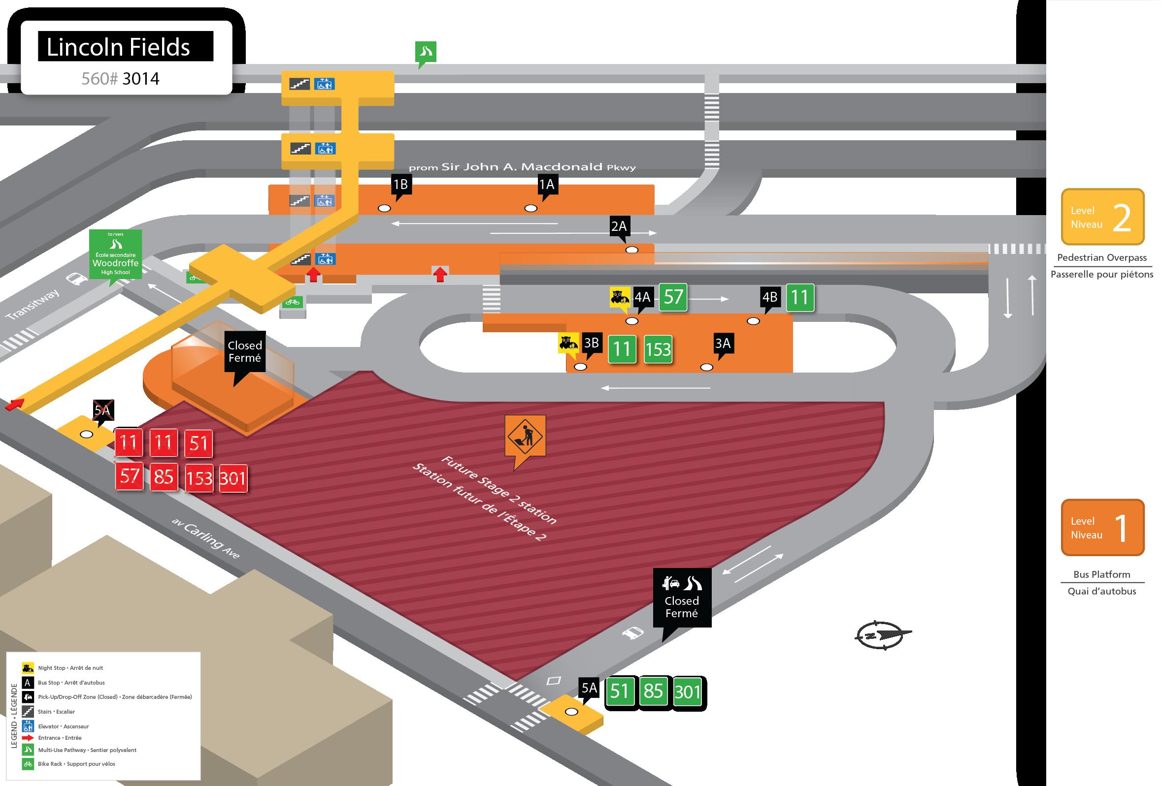 Les circuits 11, 51, 57, 85, 153 et 301 desserviront l'arrêt 5A de la station Lincoln Fields.