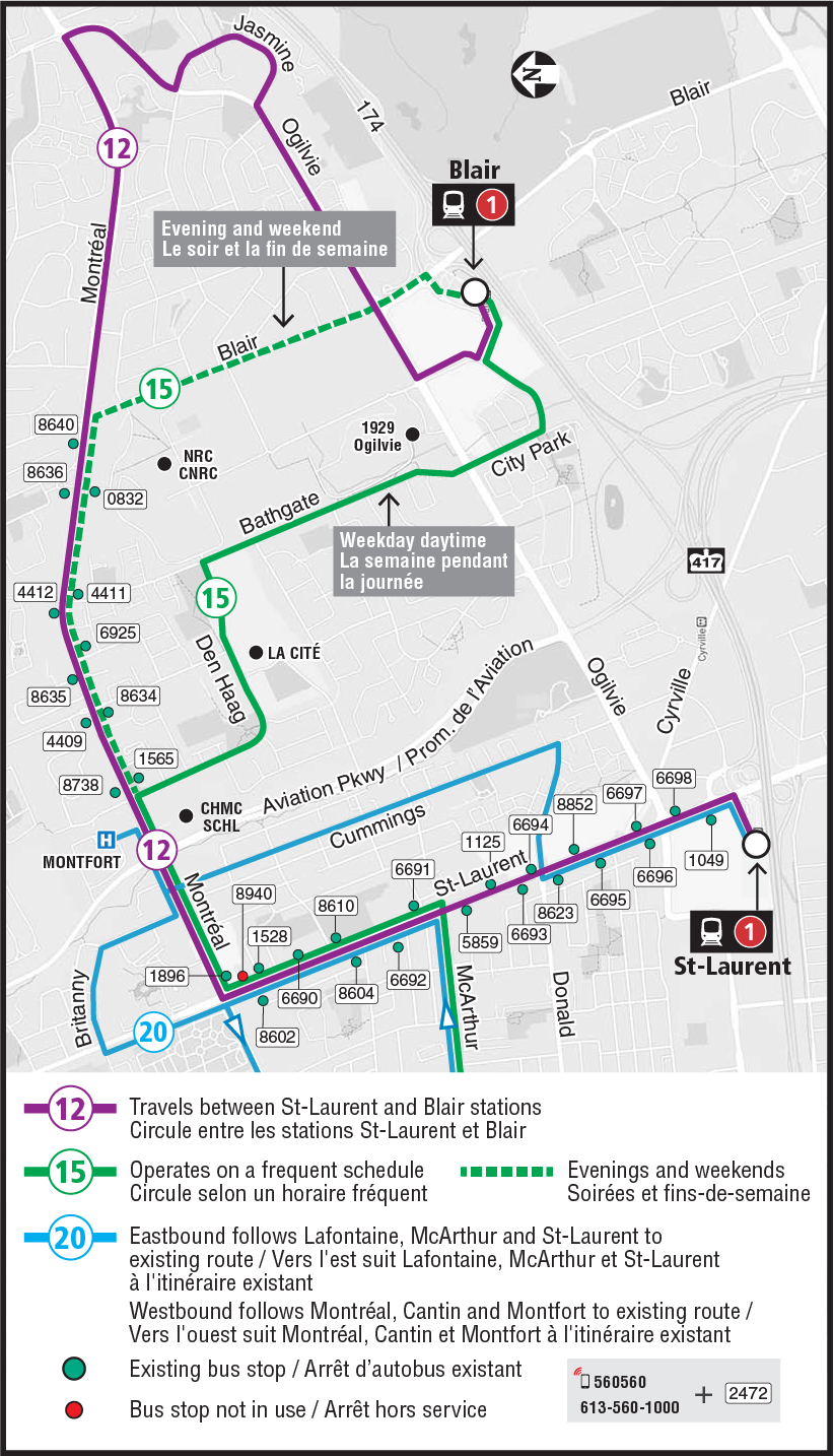 Zoomed in view of the eastern half of the Montréal Road eastbound closure detour map, showing the partial detour routing and impacted bus stops for Routes 12, 15, and 20 between St-Laurent and Blair Stations.