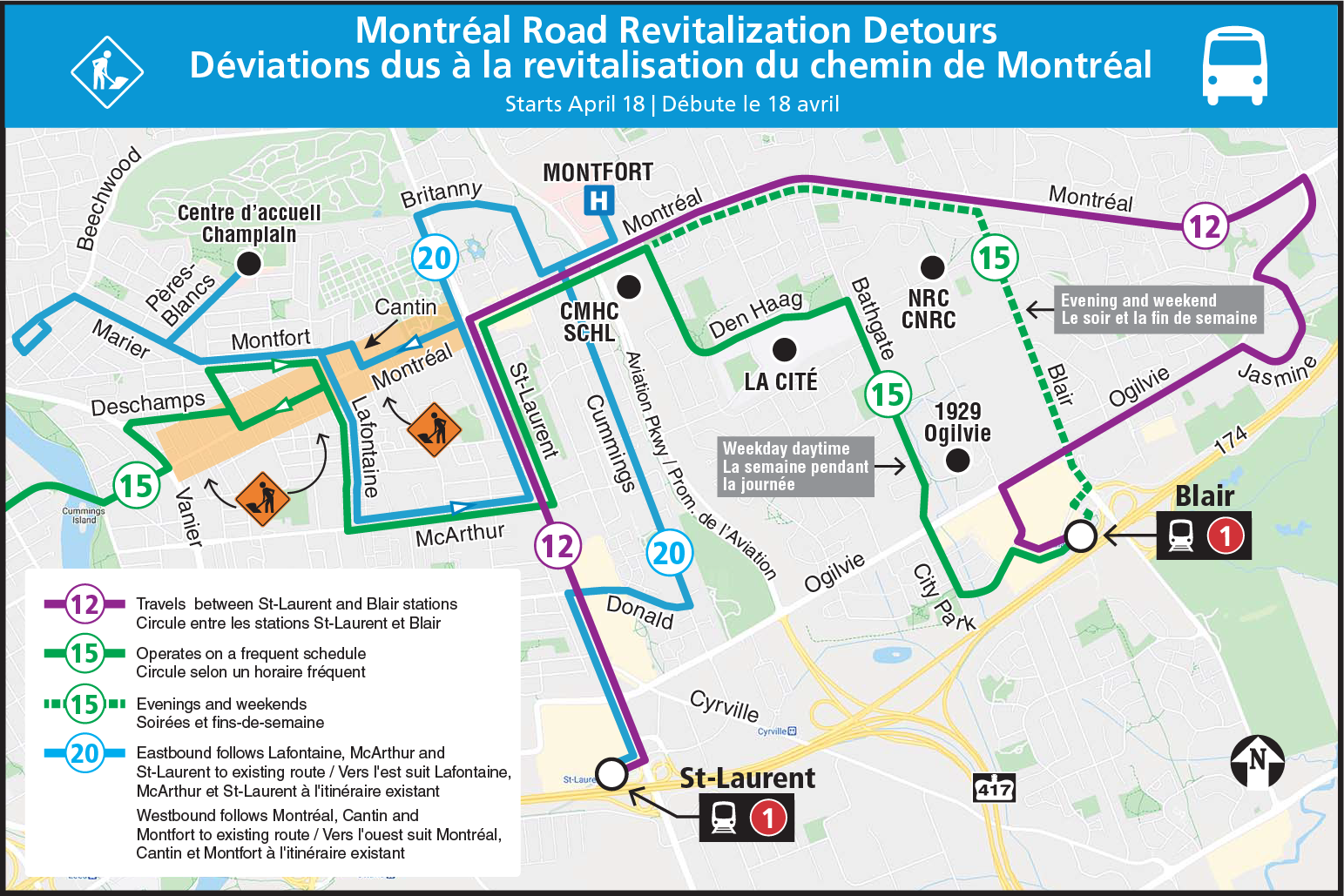 Full Montréal Road eastbound closure detour map, showing the detour routing for Routes 12, 15, and 20, as well as all of the bus stops being impacted by this detour for Routes 7, 9, 12, 15, and 20.