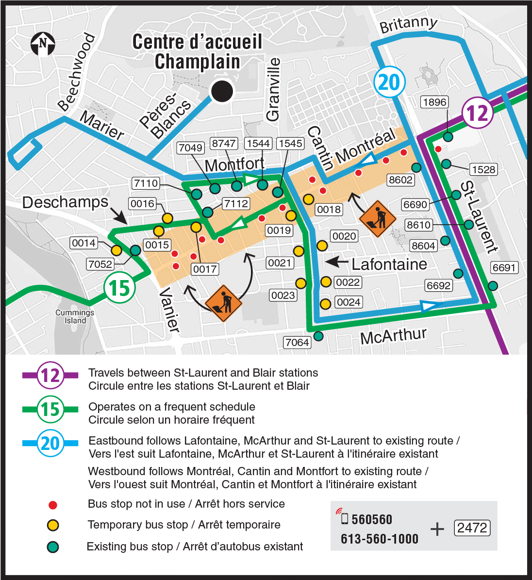Zoomed in view of the western half of the Montréal Road eastbound closure, showing the partial detour routing and impacted bus stops for Routes 12, 15, and 20 between Beechwood and St-Laurent.