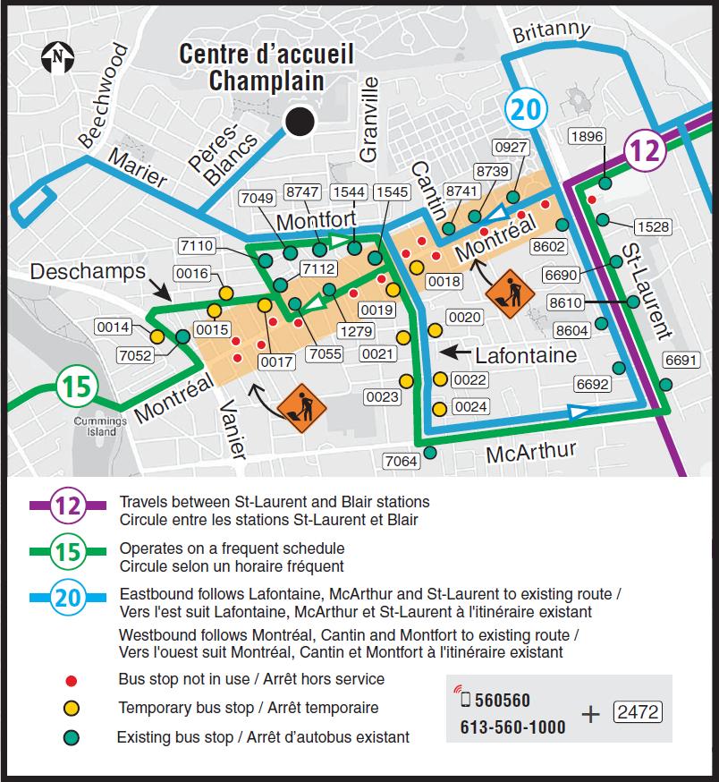 Vue agrandie de la moitié ouest de la carte des déviations dus à la fermeture du chemin de Montréal en direction est, indiquant l'itinéraire partiel des déviations et les arrêts d'autobus touchés pour les circuits 12, 15 et 20 entre l'avenue Beechwood et le boulevard St-Laurent.