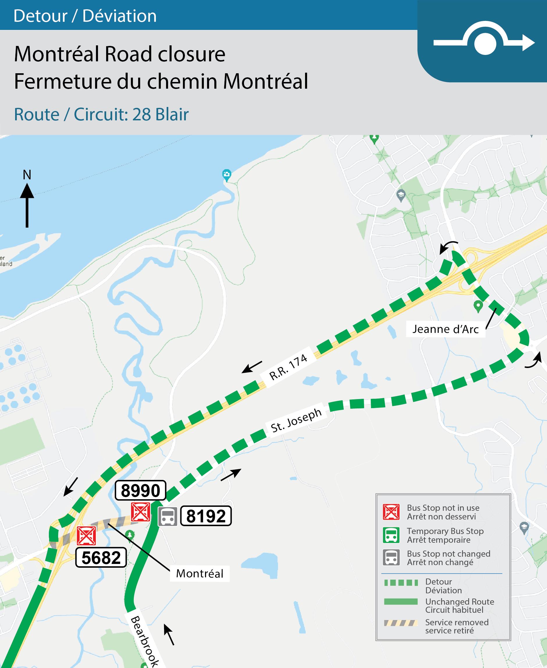 Map for Route 28 Blair detour off Montréal Road.