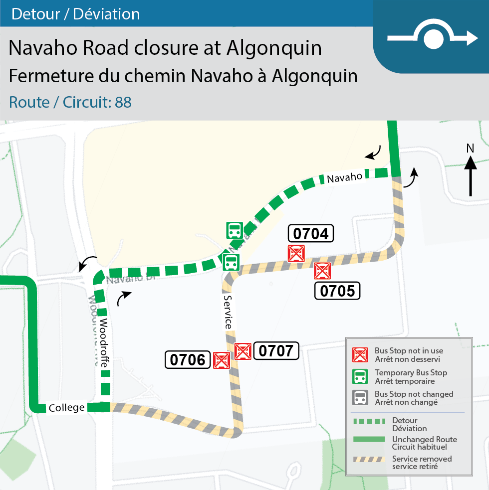 Map for Route 88 detour at Navaho north-side access road at Algonquin for construction.