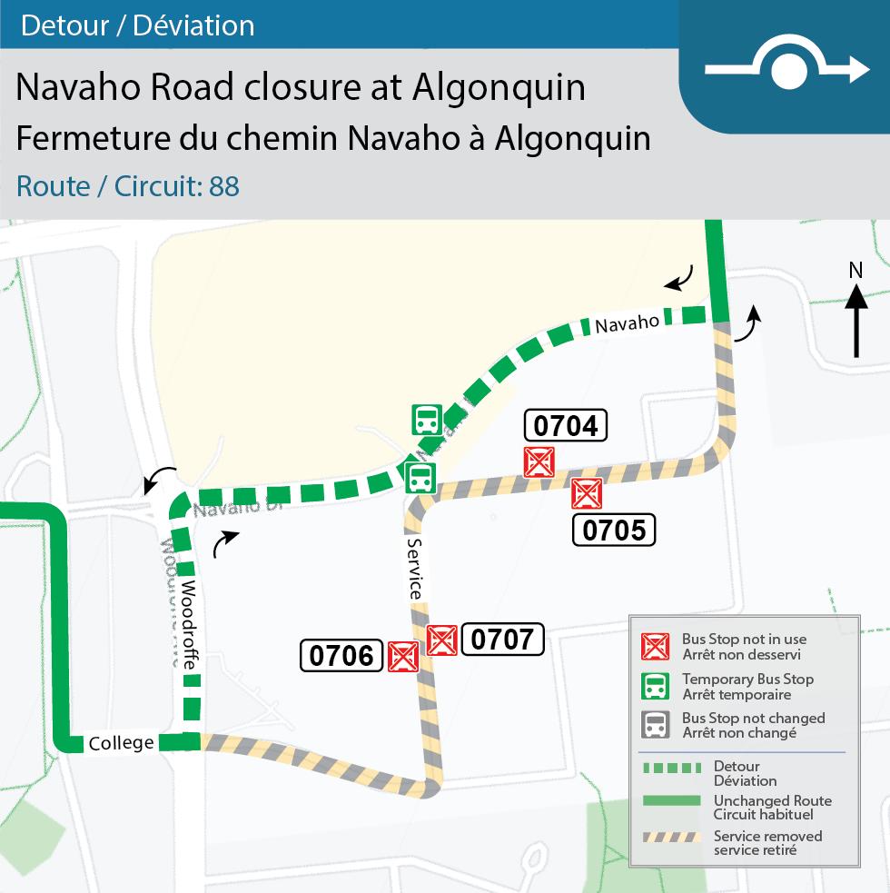 Carte du détour pour le circuit 88 sur le chemin d'accès nord depuis la promenade Navaho en raison de la construction au Collège Algonquin.