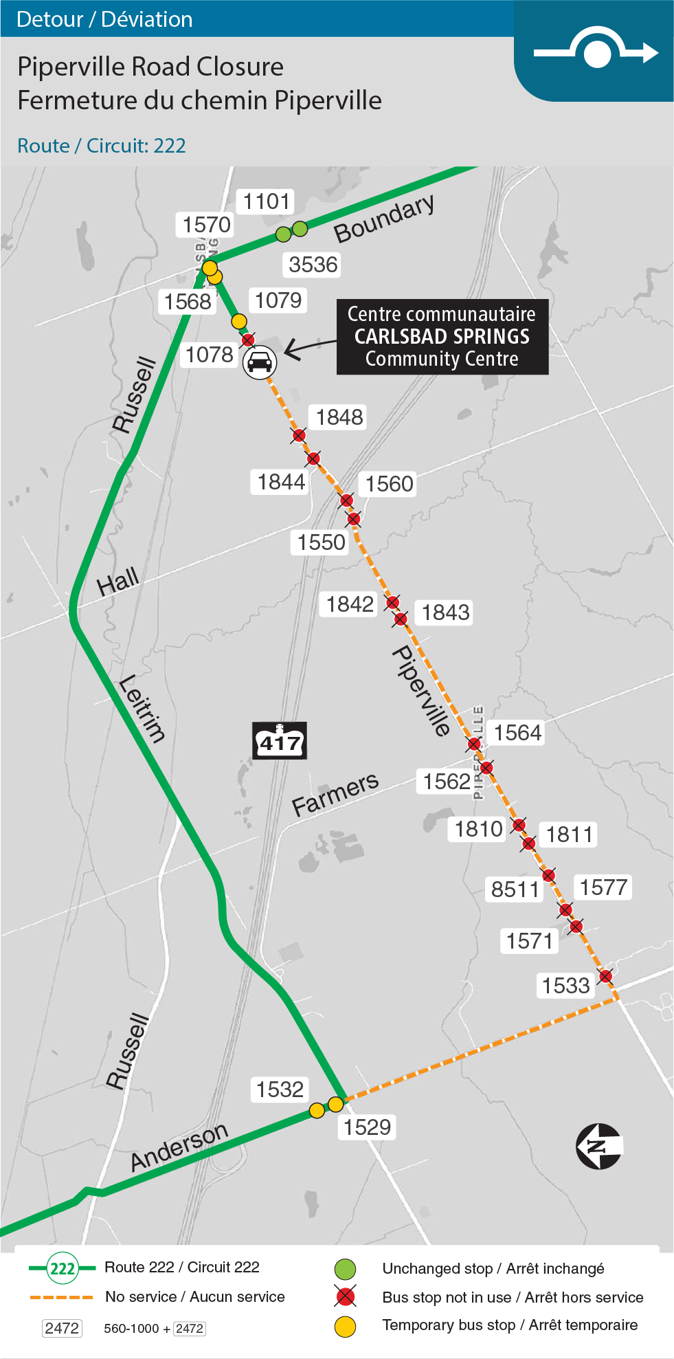 Map of Route 222, Piperville Road detour
