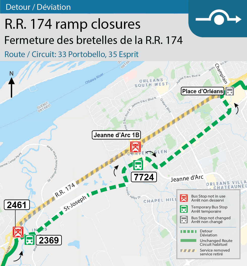 Map for Routes 33 Portobello and 35 Esprit, Detour for the Montreal and Champlain interchange closures