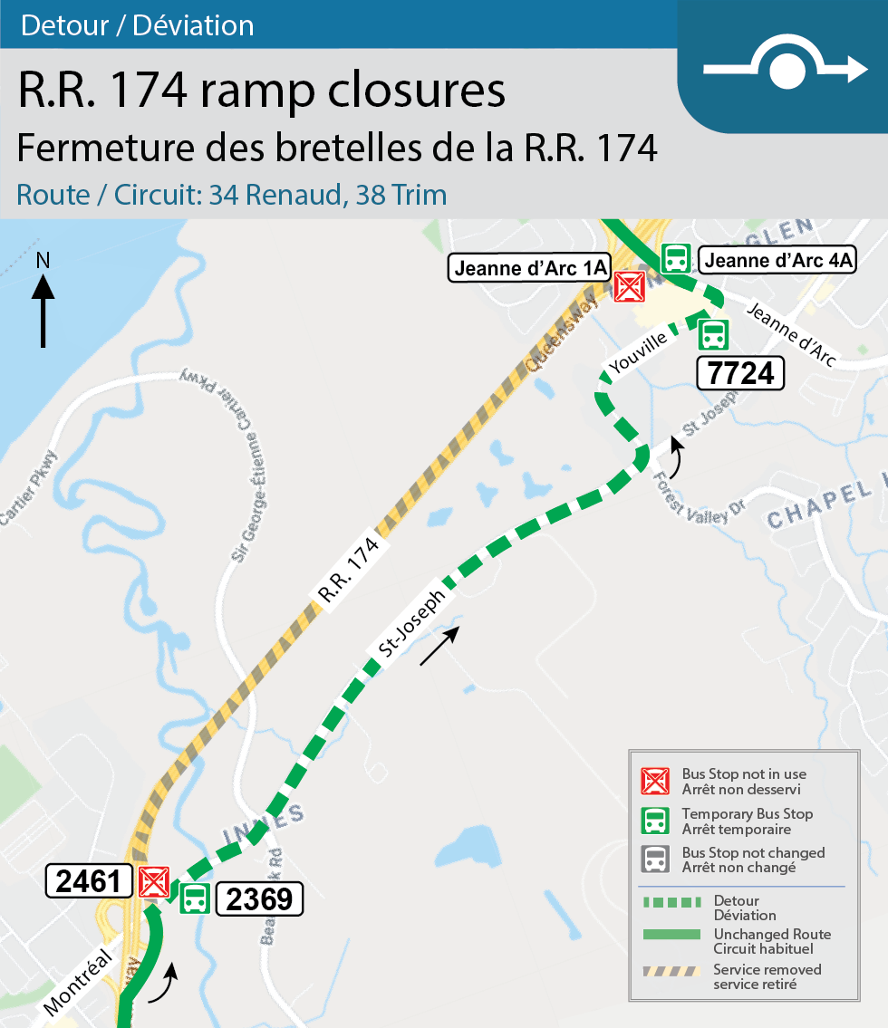 Map for Routes 34 Renaud and 38 Trim, Detour for the Montreal and Champlain interchange closures