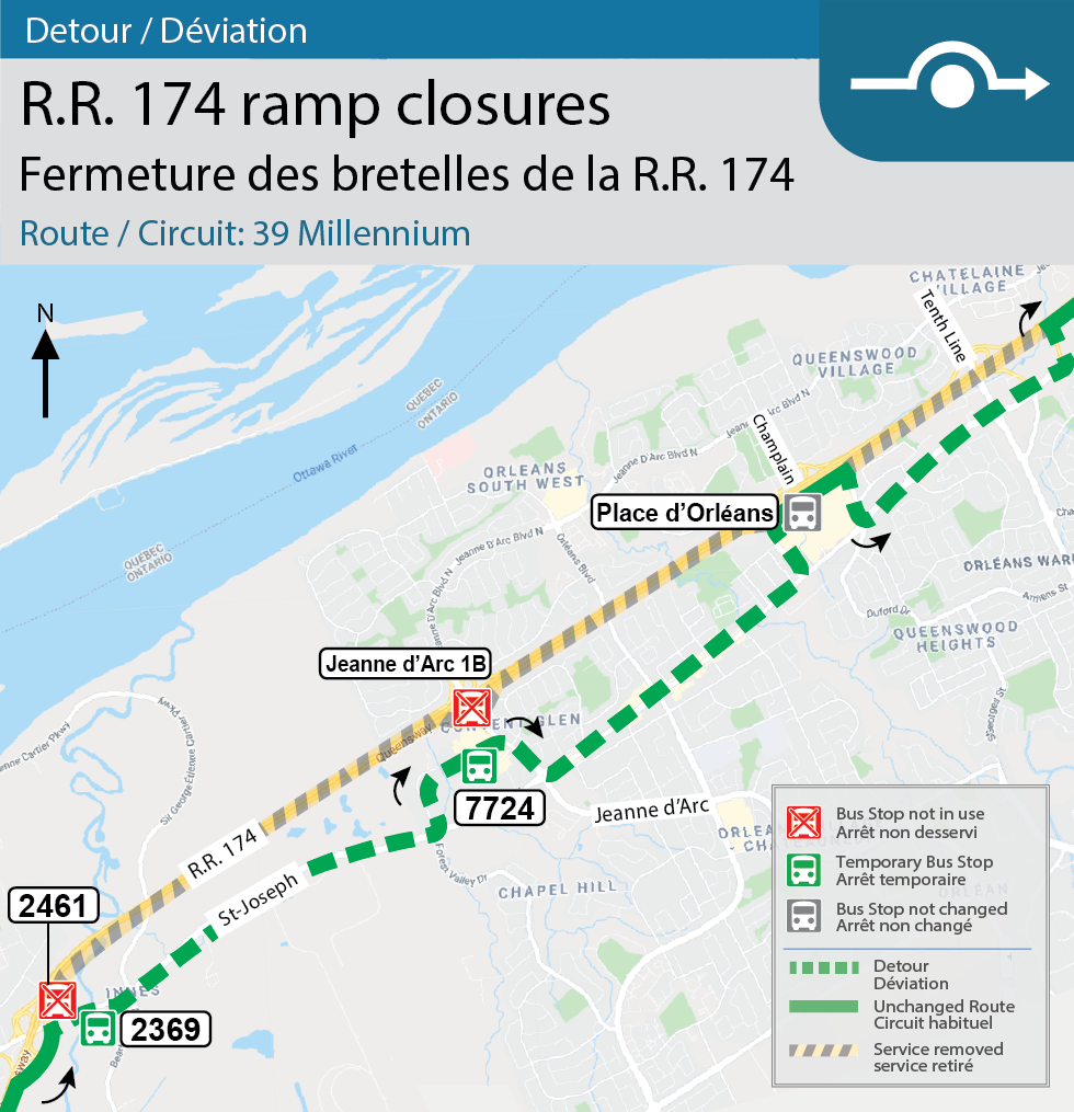Map for Route 39 Millenium, Detour for the Montreal and Champlain interchange closures