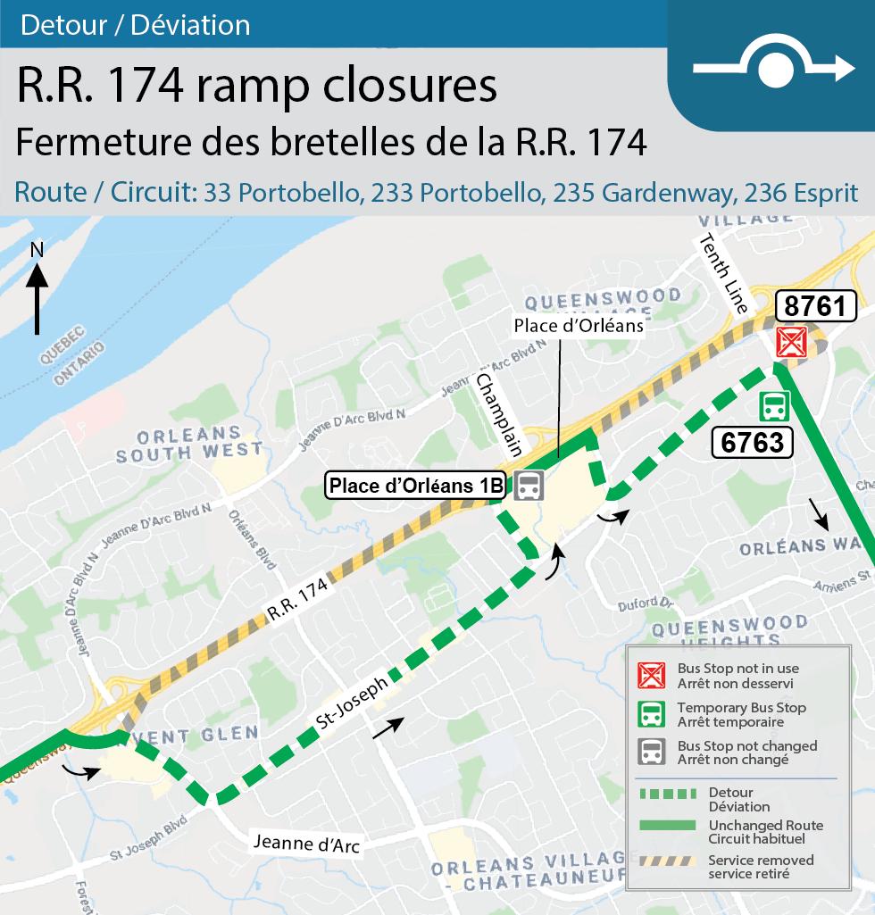 Map for Routes 33 Portobello, (PM Peak), 233 Portobello, 235 Gardenway, and 236 Esprit, Detour for the Champlain Tenth Line interchange closures