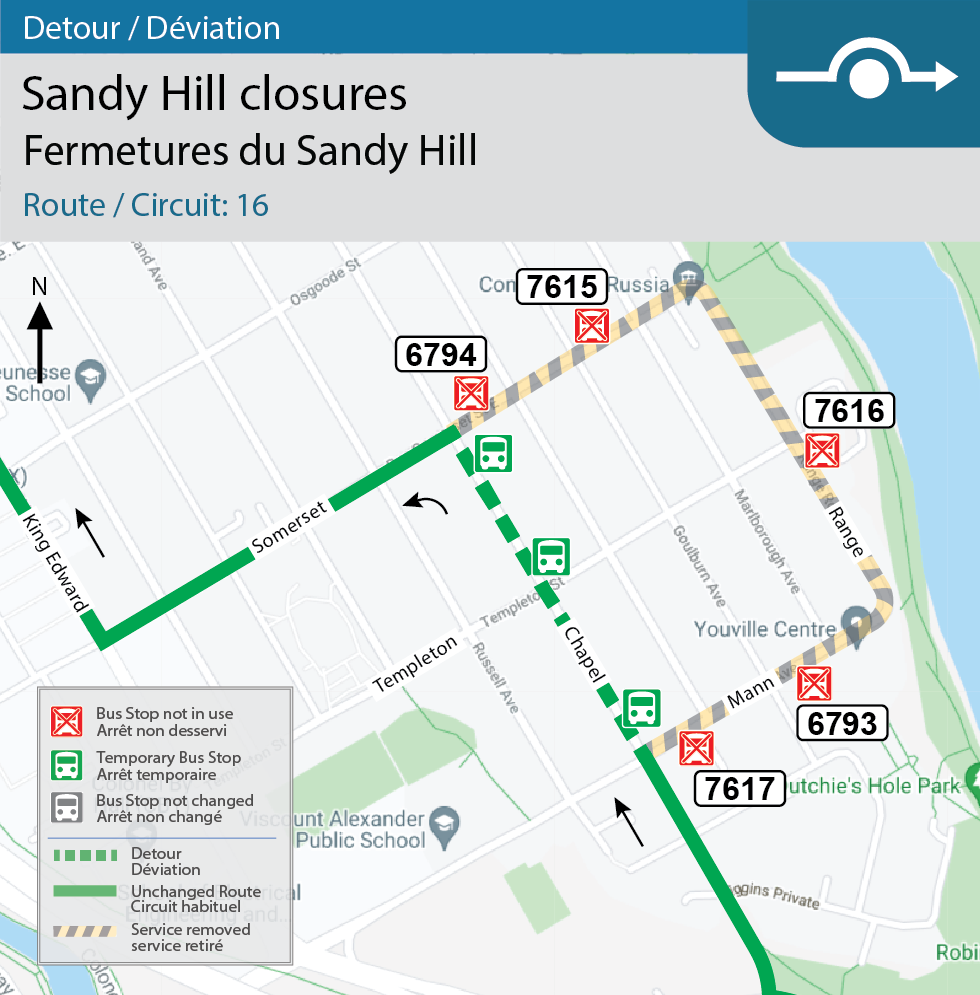 Map for Route 16, Detour for closures in Sandy Hill