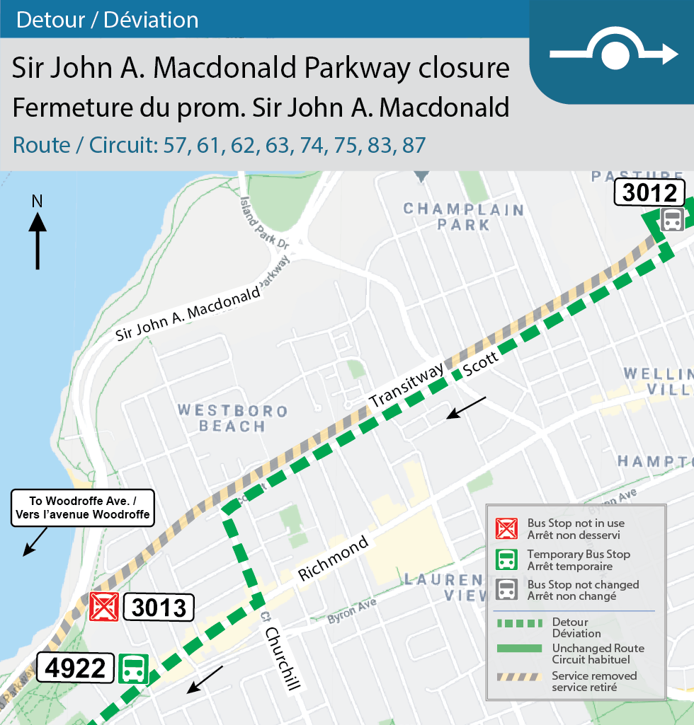 Map for Routes 57, 61, 62, 63, 74, 75, 83, and 87, detour for Sir John A. Macdonald Parkway closure