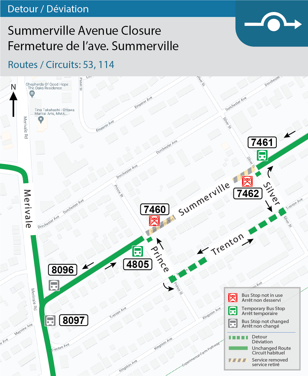 Map for Routes 53 and 114, Summerville detour for construction