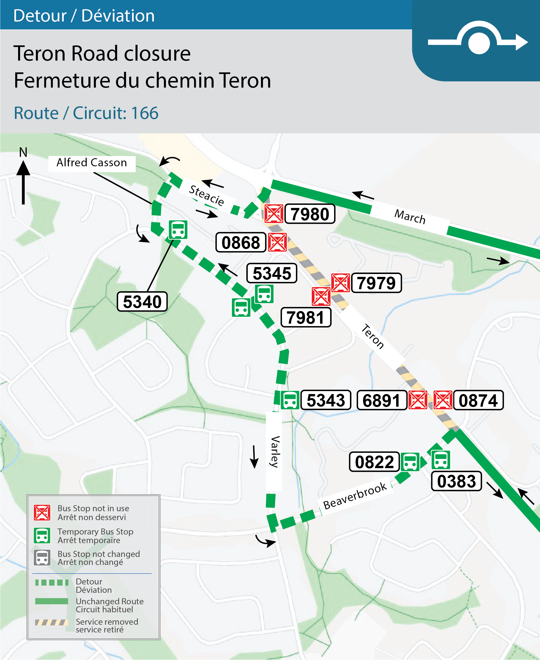 Map for Route 166, Detour for Teron Road closure