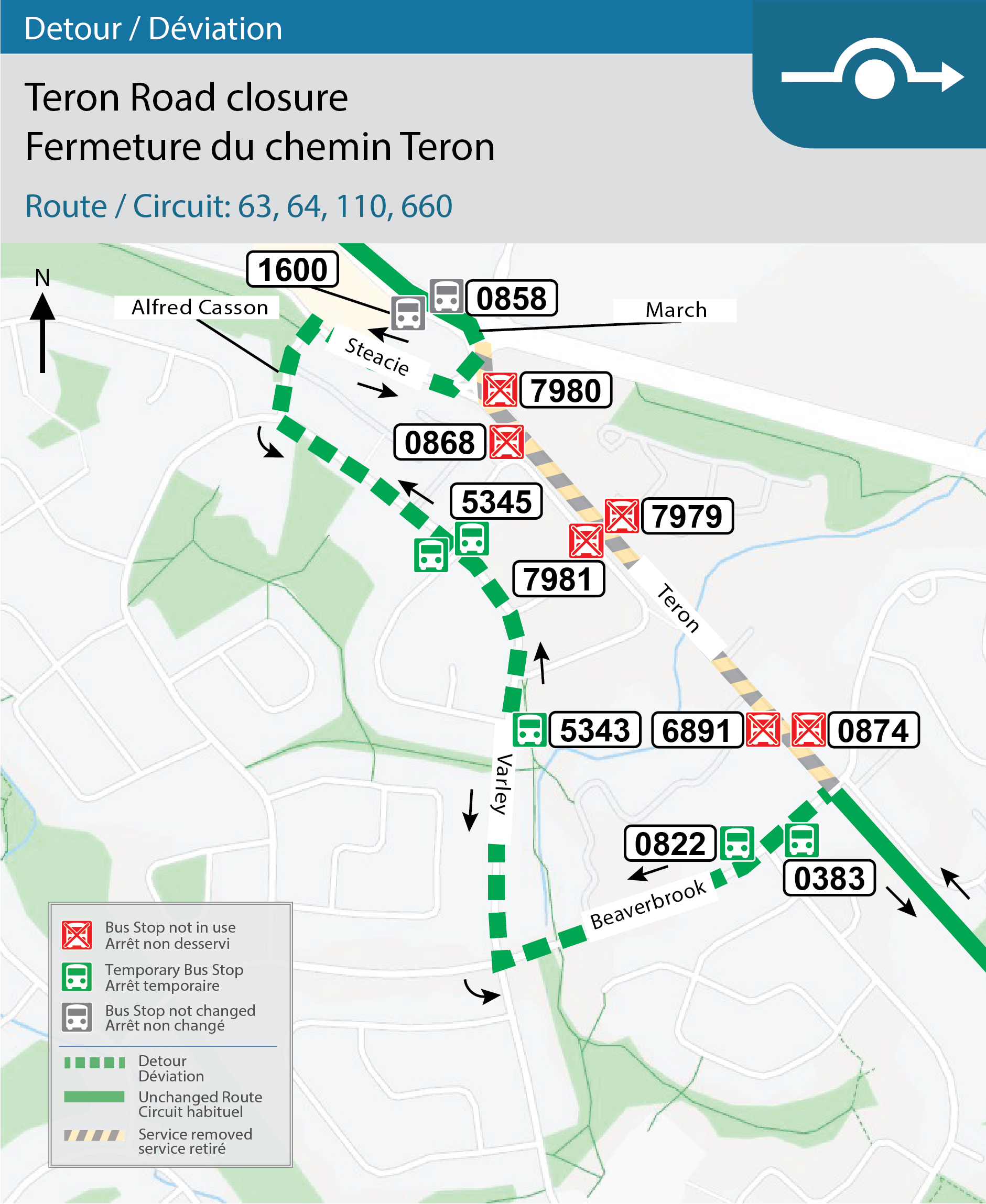 Map for Routes: 63, 64, 110 and 660, Detour for Teron Road closure