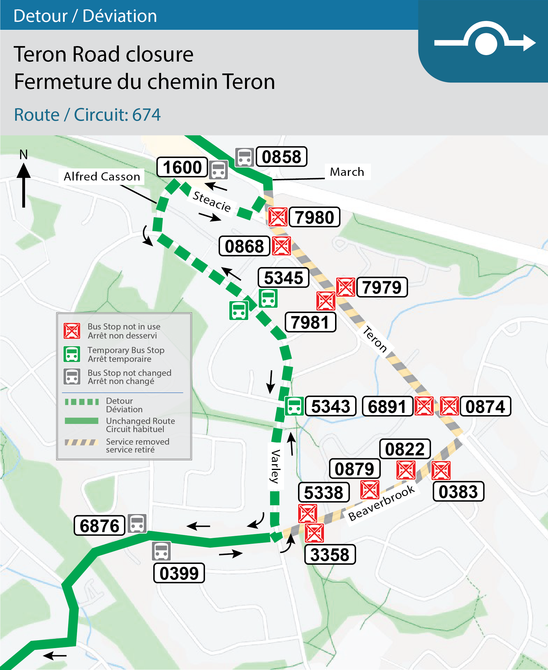 Map for Route 674, Detour for Teron Road closure