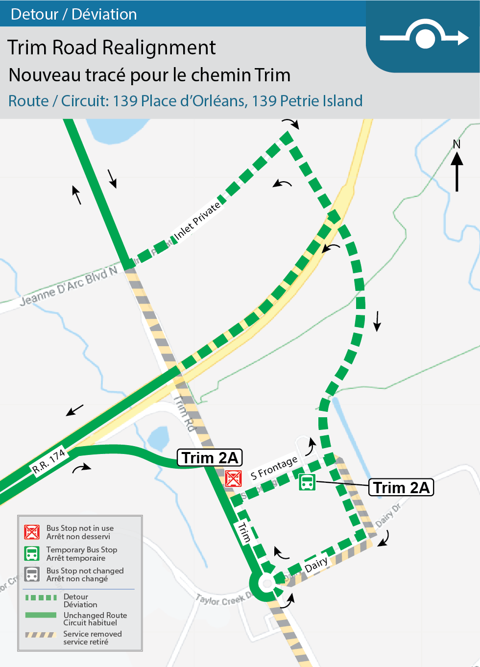 Map for Routes 139 Place d'Orleans and139 Petrie Island, Trim Road Realignment and Trim Station Adjustments detour